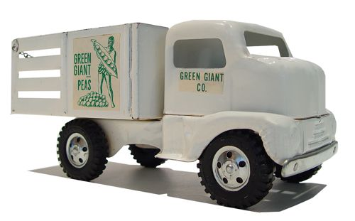 Passenger view of a 1953 Tonka Toys Private Label Green Giant Cabover Utility Hauler Truck