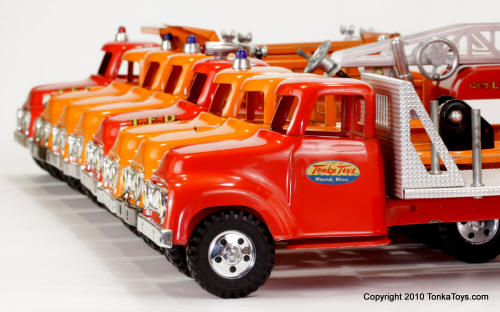 Collection of 1956 and 1957 Tonka Toy Trucks for Wallpaper