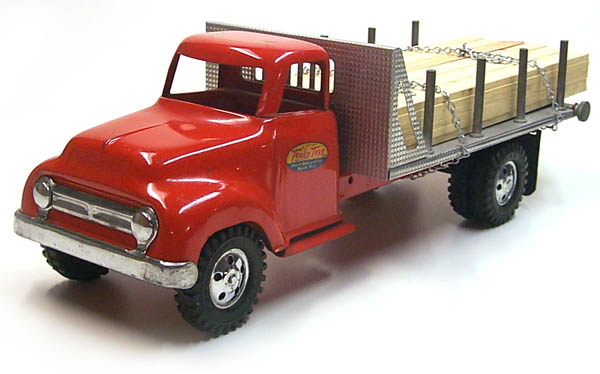 First view of a 1955 Tonka Lumber Stake Truck Number 0860-5