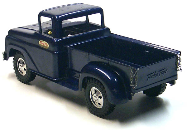 Rear side of a 1958 Tonka Blue Pickup Truck Number 02 with Box