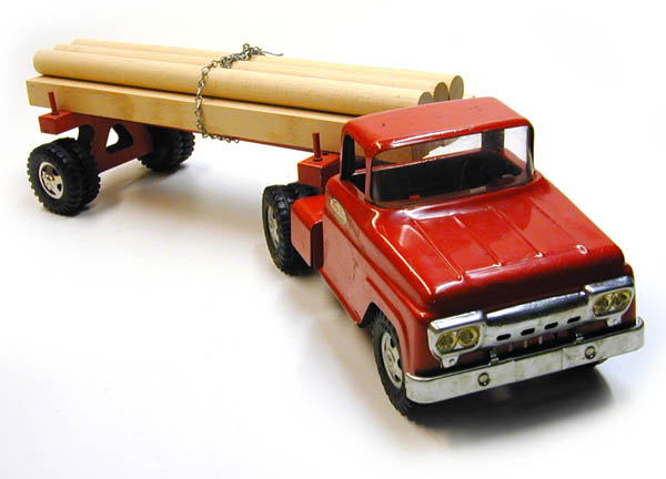 Front View of a 1959 Tonka Single Axle Log Hauler Number 07