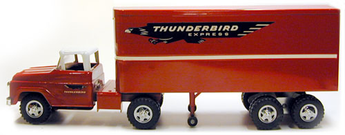 good side view of a 1960 Private Label Tonka Thunderbird Express Semi Number 37